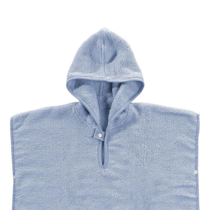 Ponczo kąpielowe z bawełny organicznej XKKO Organic - Baby Blue Stars 5x1szt. (Hurtowe opak.)