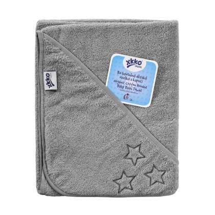 Ręcznik z kapturkiem z bawełny organicznej XKKO Organic 90x90 - Silver Stars