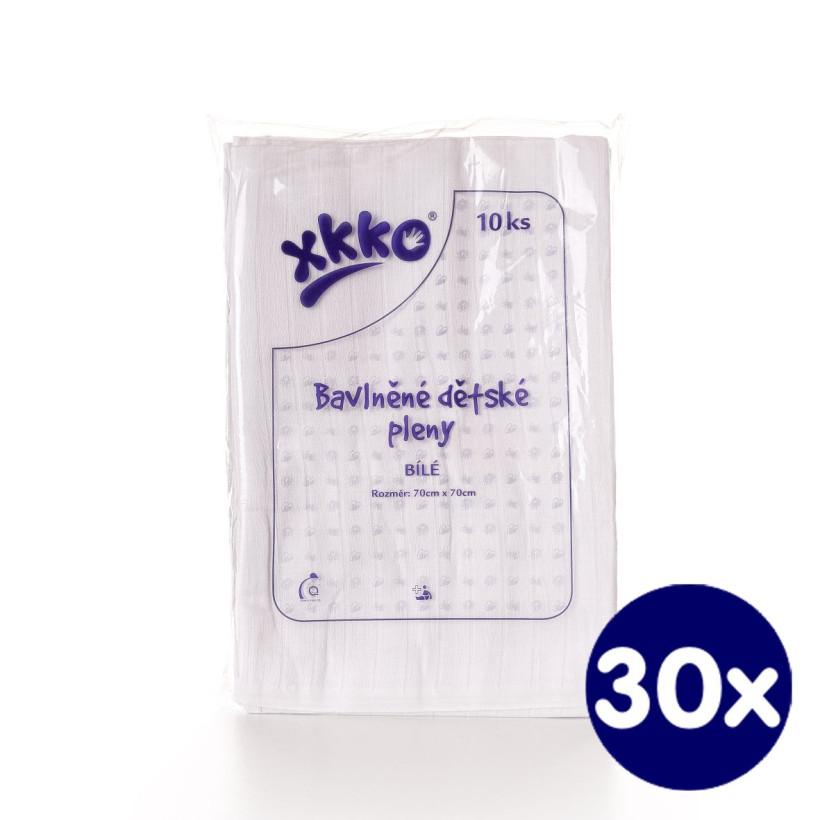 Bawełniane pieluchy muślinowe XKKO Classic 70x70 - Białe 30x10szt. (Hurtowe opak.)