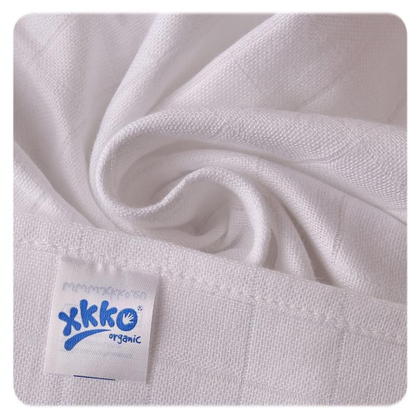 Pieluszki XKKO Organic 70x70 Organic Stare Czasy - Białe 5x5szt. (Hurtowe opak.)