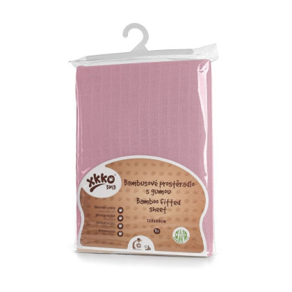 Bambusowe prześcieradło z gumką XKKO BMB 120x60 - Baby Pink