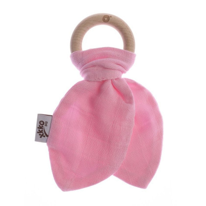 Gryzak bambusowy XKKO BMB Liść - Baby Pink
