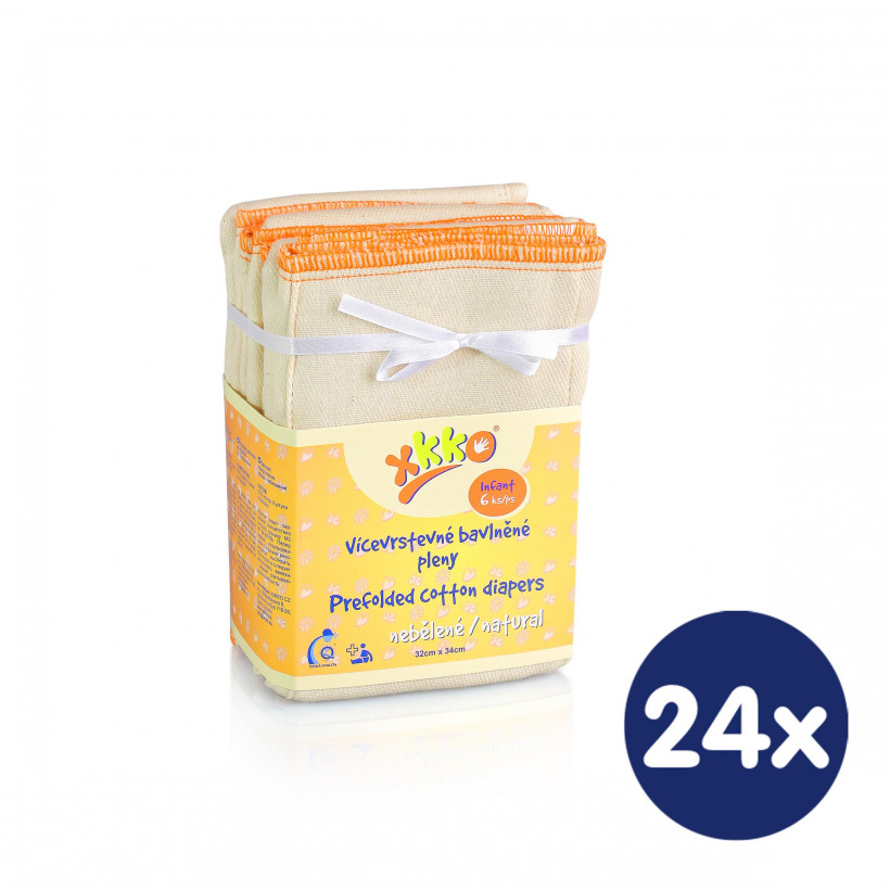 Prefoldy XKKO Classic (4/8/4) - Infant Natural 24x6szt. (Hurtowe opak.)