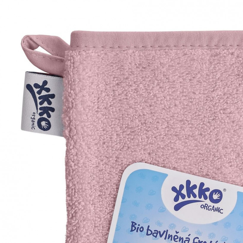 Rękawica kąpielowa z bawełny organicznej XKKO Organic - Baby Pink 5x1szt. (Hurtowe opak.)