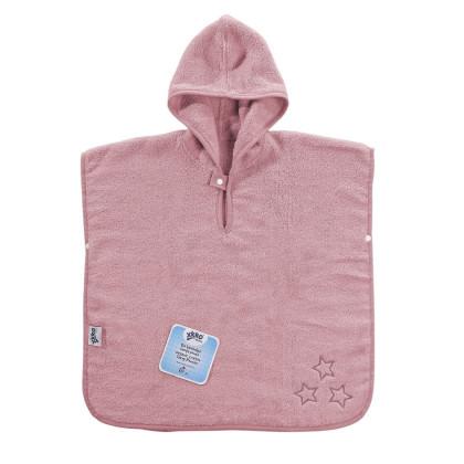 Ponczo kąpielowe z bawełny organicznej XKKO Organic - Baby Pink Stars