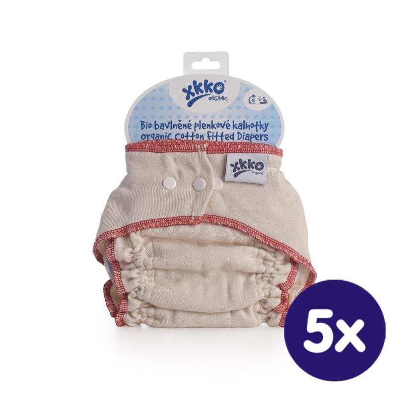 Wielorazowe pieluszki formowane XKKO Organic - Natural Rozmiar M 5x1szt. (Hurtowe opak.)