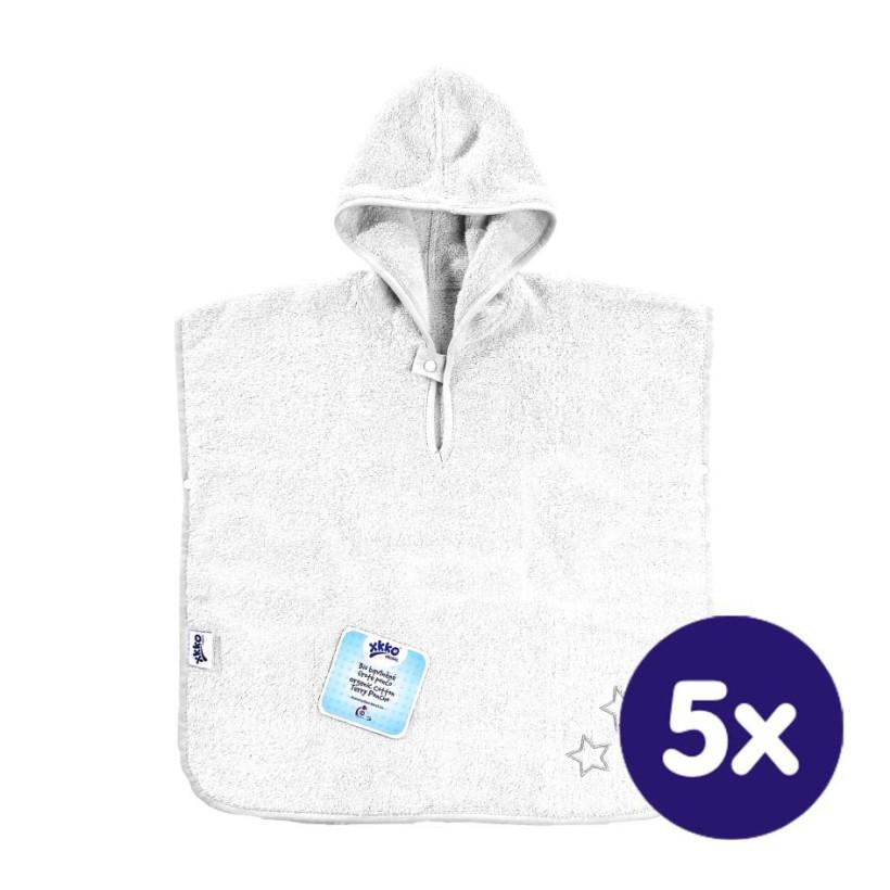 Ponczo kąpielowe z bawełny organicznej XKKO Organic - White Stars 5x1szt. (Hurtowe opak.)
