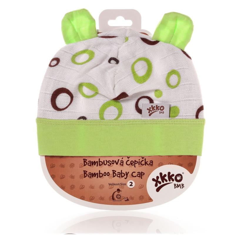 Czapka bambusowa XKKO BMB - Lime Bubbles 3x1szt. (Hurtowe opak.)