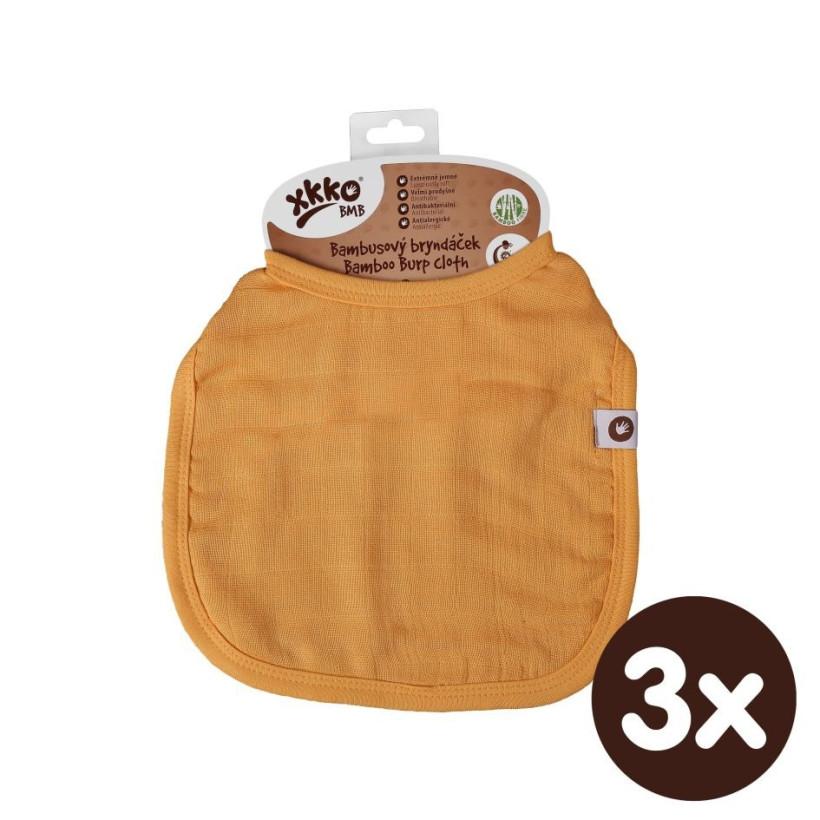 Bambusowy śliniak XKKO BMB - Orange 3x1szt. (Hurtowe opak.)