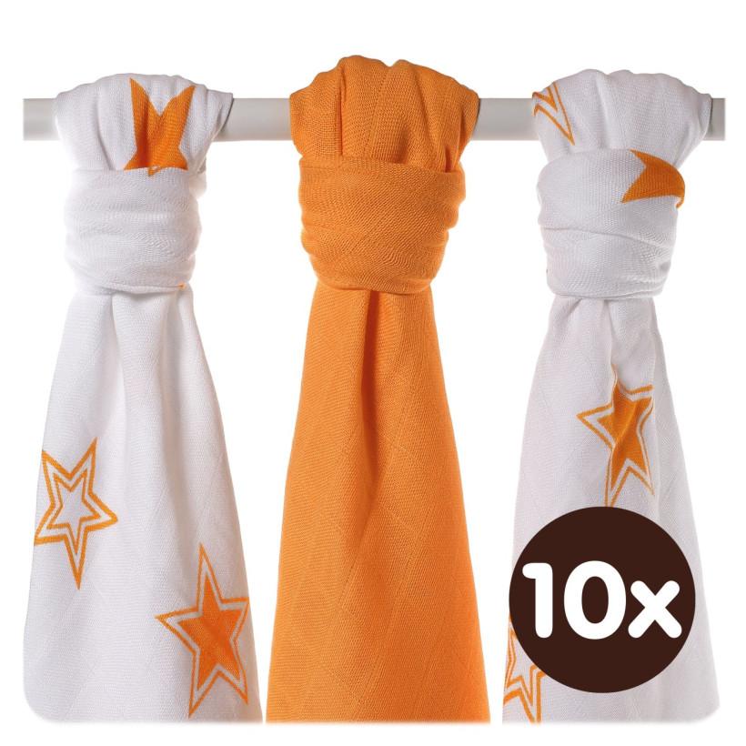 Bambusowe pieluchy XKKO BMB 70x70 - Orange Stars MIX 10x3st. (Hurtowe opak.)