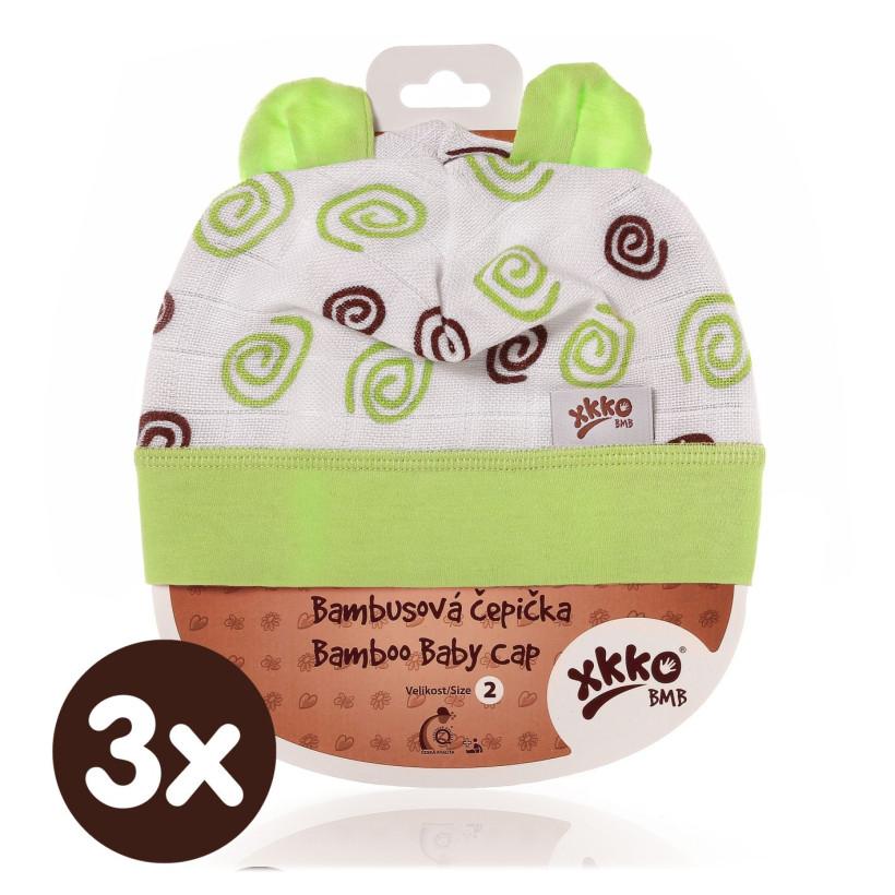 Czapka bambusowa XKKO BMB - Lime Spirals 3x1szt. (Hurtowe opak.)