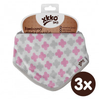 Bandanka bambusowa XKKO BMB - Scandinavian Baby Pink Cross 3x1szt. (Hurtowe opak.)