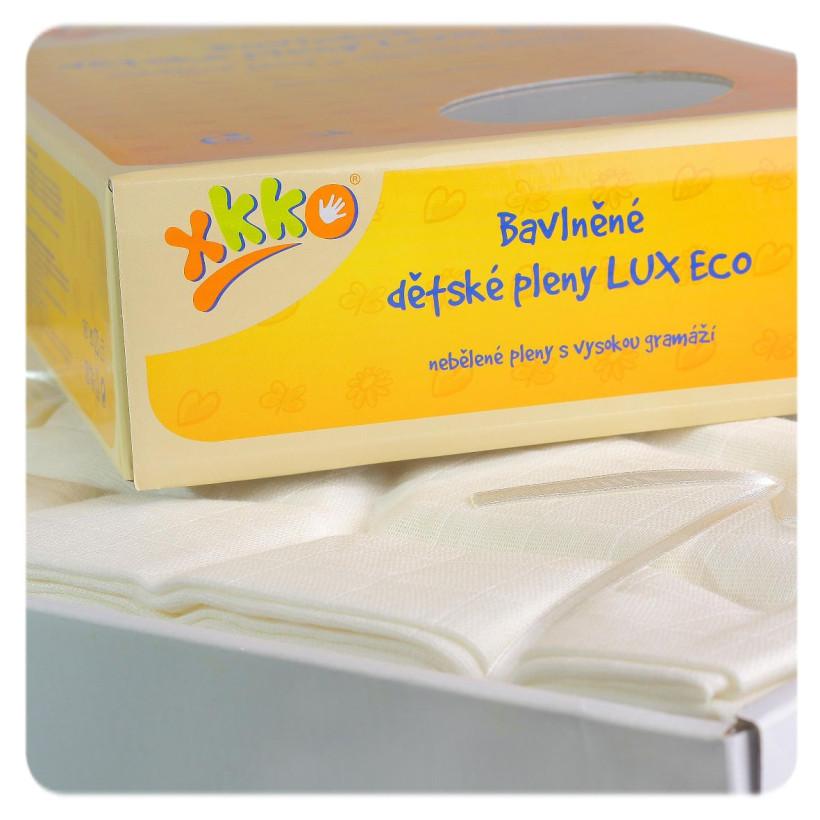 Bawełniane pieluchy muślinowe o dużej gęstości XKKO LUX ECO 70x70 - Natural 20x10szt. (Hurtowe opak.)