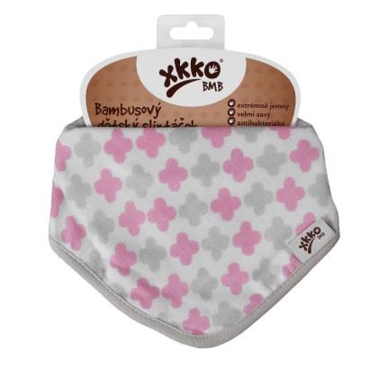 Bandanka bambusowa XKKO BMB - Scandinavian Baby Pink Cross