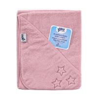 Ręcznik z kapturkiem z bawełny organicznej XKKO Organic 90x90 - Baby Pink Stars 5x1szt. (Hurtowe opak.)