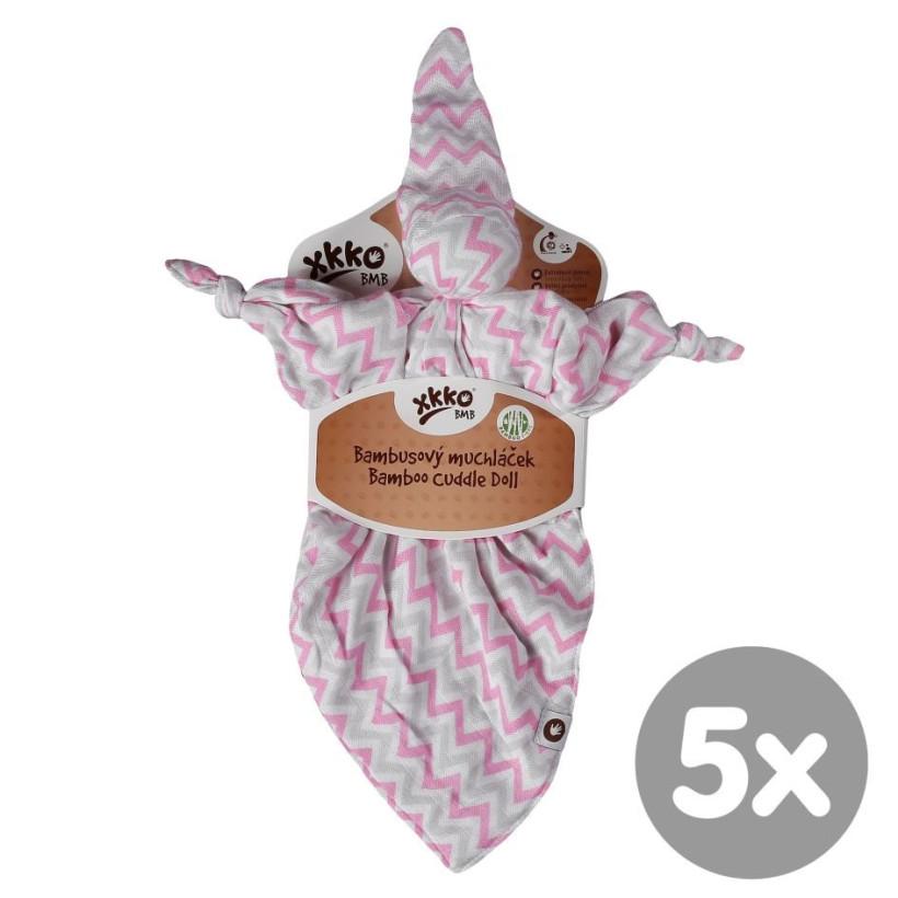 Przytulanka bambusowa XKKO BMB - Baby Pink Chevron 5x1szt. (Hurtowe opak.)