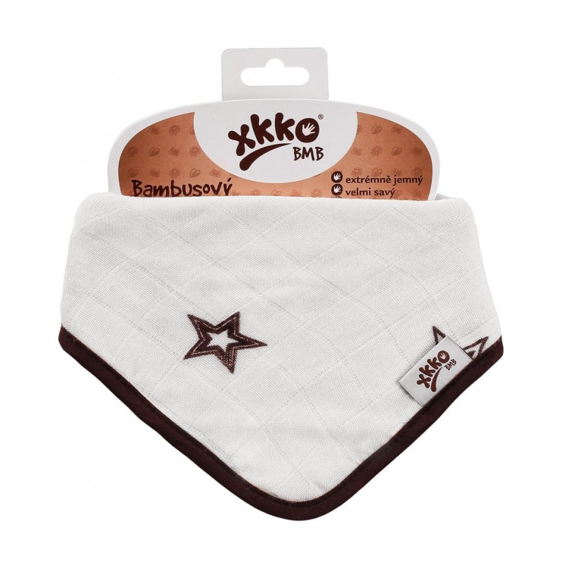 Bandanka bambusowa XKKO BMB - Natural Brown Stars 3x1szt. (Hurtowe opak.)