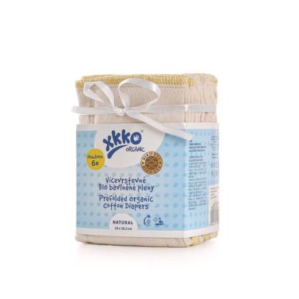 Prefoldy z bawełny organicznej XKKO Organic (4/6/4) - Bird Eye Newborn Natural