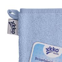 Rękawica kąpielowa z bawełny organicznej XKKO Organic - Baby Blue 5x1szt. (Hurtowe opak.)