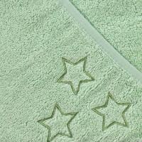 Ręcznik z kapturkiem z bawełny organicznej XKKO Organic 90x90 - Mint Stars 5x1szt. (Hurtowe opak.)