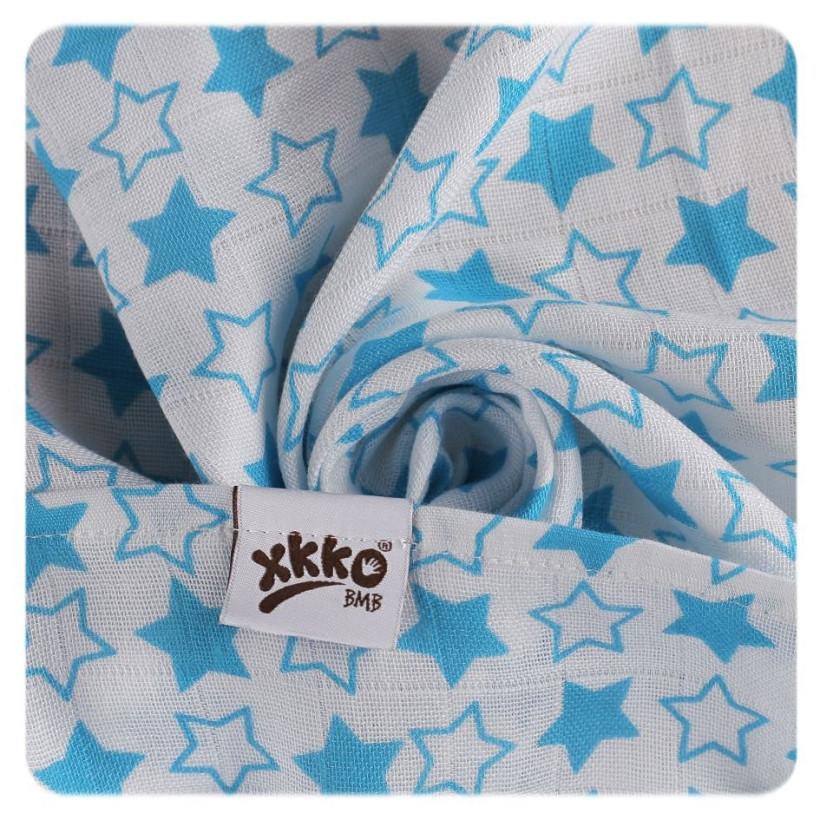 Bambusowe pieluchy XKKO BMB 70x70 - Little Stars Cyan MIX 10x3st. (Hurtowe opak.)