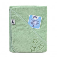 Ręcznik z kapturkiem z bawełny organicznej XKKO Organic 90x90 - Mint Stars