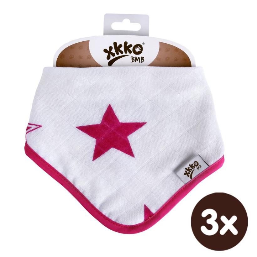 Bandanka bambusowa XKKO BMB - Magenta Stars 3x1szt. (Hurtowe opak.)