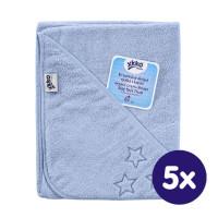 Ręcznik z kapturkiem z bawełny organicznej XKKO Organic 90x90 - Baby Blue Stars 5x1szt. (Hurtowe opak.)