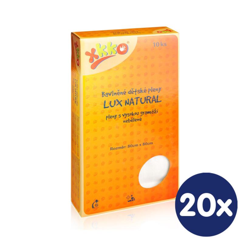 Bawełniane pieluchy muślinowe o dużej gęstości XKKO LUX ECO 80x80 - Natural 20x10szt. (Hurtowe opak.)