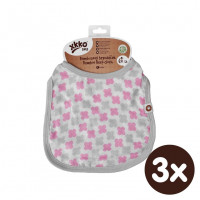 Bambusowy śliniak XKKO BMB - Baby Pink Cross 3x1szt. (Hurtowe opak.)