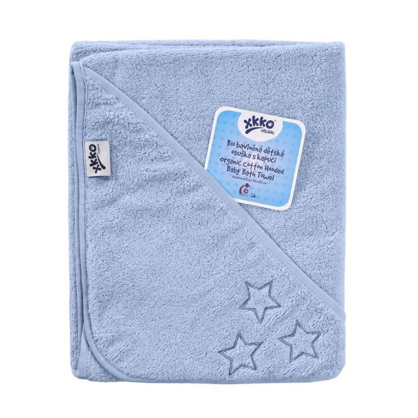 Ręcznik z kapturkiem z bawełny organicznej XKKO Organic 90x90 - Baby Blue Stars