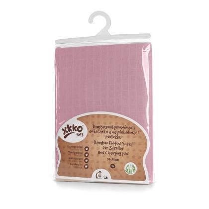 Bambusowe prześcieradło z gumką XKKO BMB 50x70 - Baby Pink