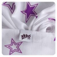 Bambusowe pieluchy XKKO BMB 70x70 - Lilac Stars MIX 10x3st. (Hurtowe opak.)