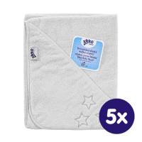 Ręcznik z kapturkiem z bawełny organicznej XKKO Organic 90x90 - White Stars 5x1szt. (Hurtowe opak.)