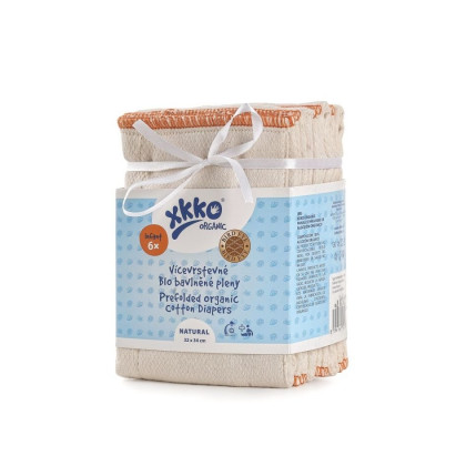 Prefoldy z bawełny organicznej XKKO Organic (4/6/4) - Bird Eye Infant Natural
