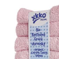 Frotte serwetki XKKO Organic 21x21 - Baby Pink 5x6szt. (Hurtowe opak.)
