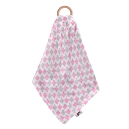 Gryzak bambusowy XKKO BMB z muślinem - Baby Pink Cross